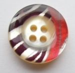 13mm Pattern Multi Coloured 4 Hole Real Shell Button