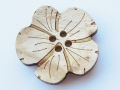 Real Wood Flower Novelty Button 25mm