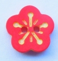 Novelty Button Flower Red and Yellow 12mm