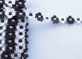 14mm Daisy Chenille Braid Black and White