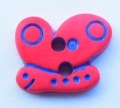 Novelty Button Butterfly 2 Hole Red and Blue 14mm