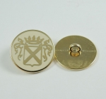 15mm Cream and Gold Shield Metal Shank Metal Buttons