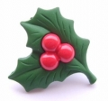 Novelty Button Christmas Holly 26mm