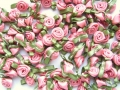 100 Satin Ribbon Roses 12mm Dusty Rose