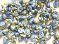 100 Satin Ribbon Roses 12mm Antique Blue