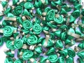 100 Satin Ribbon Roses 12mm Emerald Green