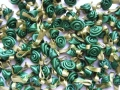 100 Satin Ribbon Roses 12mm Forest Green