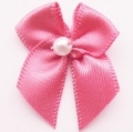 100 Ribbon Bows With Pearl 10mm Colonial Rose