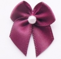 100 Ribbon Bows With Pearl 10mm Wine