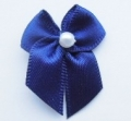 100 Ribbon Bows With Pearl 10mm Navy