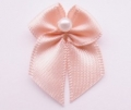 100 Ribbon Bows With Pearl 10mm Peach