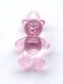 Novelty Button Teddy Bear Clear Pink 25mm