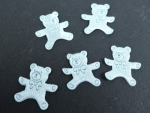 5 Satin Blue Teddy Embellishments Motifs