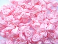 100 Satin Ribbon Roses 12mm All Light Pink