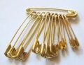 12 Gold Safety Pins sizes 0-1-2