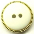 100 x 15mm Gold Edge White Center Sewing Buttons