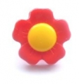 Novelty Button Flower Yellow and Red 15mm