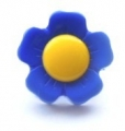 Novelty Button Flower Yellow and Royal 15mm