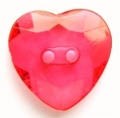 14mm Crystal Heart Red Sewing Button