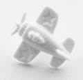 Novelty Button Aeroplane White 15mm
