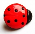 Novelty Button Ladybird Black and Red 16mm