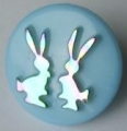 Novelty Button Bunnies Light Blue and Rainbow 14mm