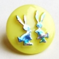 Novelty Button Bunnies Yellow and Rainbow 14mm