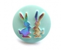 Novelty Button Bunnies Light Green and Rainbow 14mm