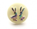 Novelty Button Bunnies Cream and Rainbow 14mm