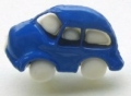 Novelty Button Car Blue 18mm