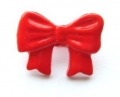 Novelty Button Bow Red 16mm
