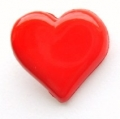 Novelty Button Heart Shank Red 15mm