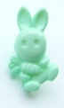 Novelty Button Bunny and Carrot Light Green 16mm