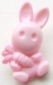 Novelty Button Bunny and Carrot Pink 12mm