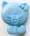 Novelty Button Cat Light Blue 12mm