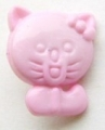 Novelty Button Cat Pink 12mm