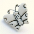 Novelty Button Butterfly White 16mm