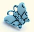 Novelty Button Butterfly Light Blue 16mm