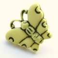Novelty Button Butterfly Lemon 16mm