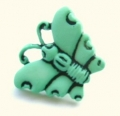 Novelty Button Butterfly Light Green 16mm