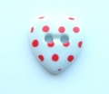 Novelty Button Heart Red Spot and White