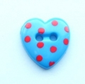 Novelty Button Heart Red Spot and Blue