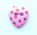 Novelty Button Heart Red Spot and Cerise