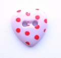 Novelty Button Heart Red Spot and Pink
