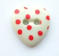 Novelty Button Heart Red Spot and Cream