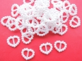 50 Pearl Heart Buckles Wedding Crafts 15mm