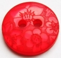 15mm Flower Red Sewing Button