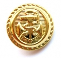Metal Button Anchor Gold Shank 22mm