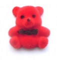 Card Making Craft Button Velvet Teddy Red 23mm