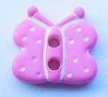 Novelty Button Butterfly 2 Hole Pink and White 11mm